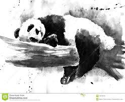 Disegno In Bianco E Nero Del Panda Dellacquerello Illustrazione