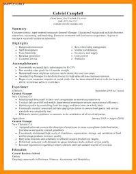 Sample General Manager Resume Restaurant General Manager Resume Luxury General Resume Sample
