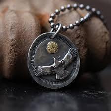 silver eagle pendant oxidized silver pendant flying bird pendant 18k gold eagle charm hammered pendant two tone pendant disk mens