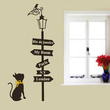 Wall Decor Stickers For Living Room Aliexpresscom Buy Large Living Room Wall Decor Street Cat