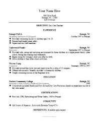 Resume For Daycare Kordurmoorddinerco Classy Daycare Teacher Resume