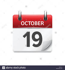 Daily Calander October 19 Vector Flat Daily Calendar Icon Date And Time