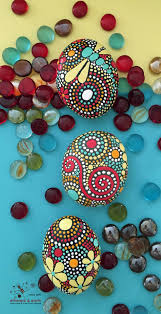 Hand Painted Stones, Painted Stone, Hand Painted Rocks, Rock Art,  Dragondfly Stone Art, Mandala Rock Art, fields of color collection Trio#57