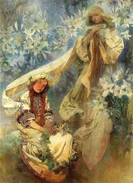 madonna of the lilies artist alphonse mucha completion date 1905 style art nouveau modern genre religious painting technique oil material canvas