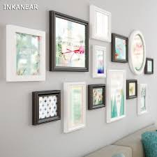 13pcs photo frames modern fashion officestorehome wall decoration solid wooden white painting office wall frames r82 wall