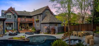 luxurious home with wonderful backyard landscaping idea