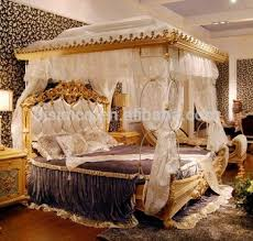 Luxury French Rococo Style Wood Carved Marquetry Canopy Bed/ Royal Four  Poster King Size Bed