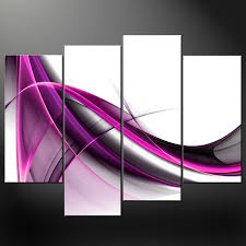 abstract purple wave set canvas wall art