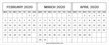 Calendar For February March April 2020 2020 Print Calendar