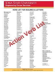 Resume Verb List Musiccityspiritsandcocktail Com