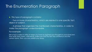 types of paragraphs 3 the enumeration