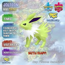 Shiny Jolteon*Pokémon Sword Shield 6IV*Heavy Duty Boots*Legal & Battle  Ready*Level 100*Pokemon Trainer*Delivery TODAY+… in 2021 | Games like  pokemon, Pokemon, Shiny pokemon
