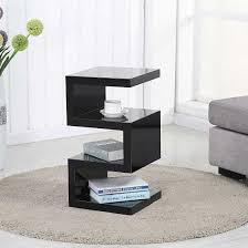 trio modern side table in black high gloss