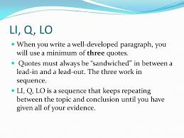 Lead Ins For Quotes Extraordinary Writing Using Leadins Quotes And LeadOuts In Paragraphs And