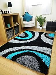 Image Flower Rugs Superstore Small Extra Large Rug New Modern Soft Thick Black Silver Grey Teal Blue Shaggy Amazon Uk Rugs Superstore Small Extra Large Rug New Modern Soft Thick Black