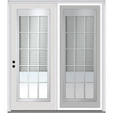 mmi door internal mini blinds blinds between the glass fiberglass right hand inswing double door center hinged patio door with screen common 72 in x 80 in