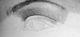 eyebrow shading drawing. dig hard with the 4h pencil to prepare shading of eyelid eyebrow drawing i