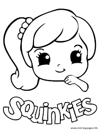 Cute Girl Squinkies Coloring Pages Printable