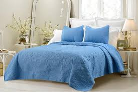 oversized 3pc quilted coverlet set blue