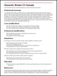 Cv For Cleaning Job Domestic Worker Cv Sample Myperfectcv