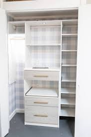 steps of the remake of my office closet with s and removable buffalo check wallpaper install