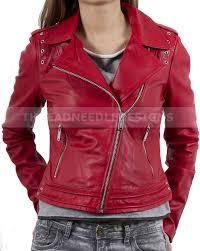 details about women s genuine lambskin leather motorcycle slim fit red biker jacket