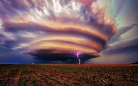 landscape storm lightning field tornado
