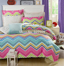 colorful chevron bedding full duvet cover set linen 100 cotton 4pcs teen baby grils bed sheet set with bright color