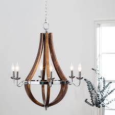 innovative 6 light chandelier vineyard wood and chrome 6 light chandelier free today