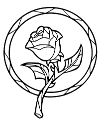 beauty and the beast enchanted rose coloring book page printable freebie