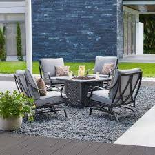 fire pit and chairs. Contemporary Pit Highland Point 5Piece Aluminum And Steel Patio Fire Pit Conversation Set  With Gray Cushions And Chairs W
