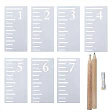 Elcoho 7 Feet Growth Chart Stencil 7 Pieces Kids Height Growth Chart Reusable Ruler Template For Painting On Wood Scale Stencils With 2 Pencil And 1