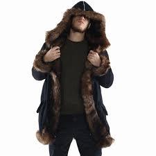 men faux fur coat long style winter warm casual hooded cool faux fox fur overcoat brief