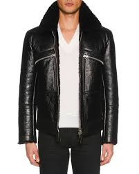 tom fordmen s ed leather jacket with shearling trim