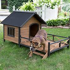 large dog house lodge with porch deck kennels