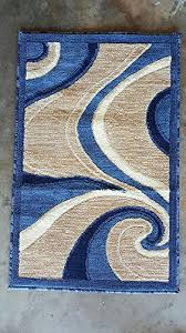 modern area rug blue swirl design 144 3ft 10in x5ft