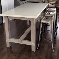 Diy Harvest Table Kitchen Island With White Quartz Counter Cut