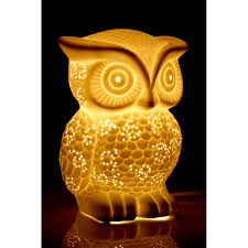 kids owl night light white ceramic bedside table lamp childrens