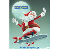 your local p santa souped up on surfboard