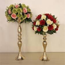 "Gold Candle Holders 50cm/20"" Metal Candlestick <b>Flower Vase</b> ..."