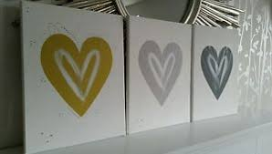 image is loading new mustard yellow dark grey silver love heart  on grey and mustard yellow wall art with new mustard yellow dark grey silver love heart wall art canvas post