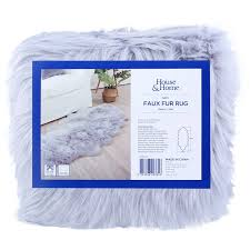 house home faux fur rug grey