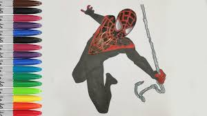 Find more coloring pages online for kids and adults of ultimate spiderman iron spider coloring pages to print. Spiderman Mile Moralse Coloring Pages Ultimate Spiderman Sailany Coloring Kids Youtube