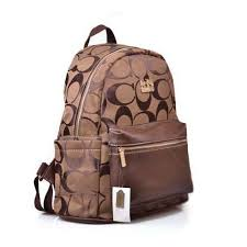 Factory Coach Logo Monogram Medium Coffee Backpacks DH7206