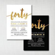 40th Birthday Invitations Printable 40th Birthday Invitation Modern Gold Foil Effect