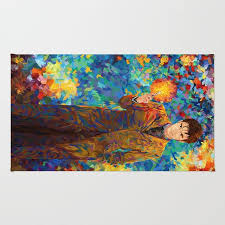 10th doctor with driver abstract art rug rug painting digital oil