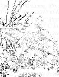 Small Picture Fantasy Mushroom Village Adult Coloring Page Digi Stamp Instant