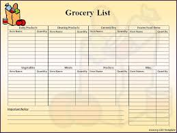 Free Printable Blank Grocery List Free Printable Grocery List For Ms Word Document Vatansun