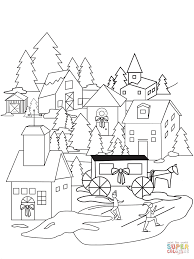 Small Picture Coloring Pages Christmas Village Coloring Page Free Printable