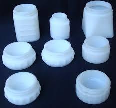 8 vintage white milk glass jars j j woodbury des pat